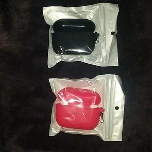 2 Pack - Super Cute AirPods Pro Case - Black & Red